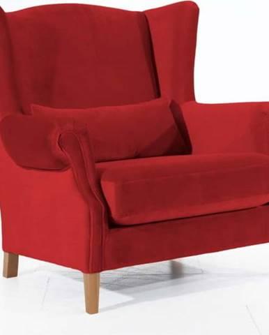 Tmavě červené sametové křeslo ušák Max Winzer Harvey Velvet