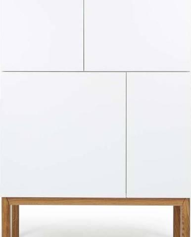 Bílá čtyřdveřová komoda s nohami z dubového dřeva Tenzo Patch, 92 x 138 cm
