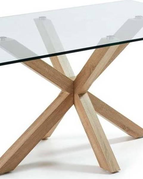 La Forma Skleněný jídelní stůl s přírodním podnožím La Forma, 160 x 90 cm