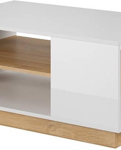 Konferenční stolek ARDEN, bílá/dub/bílý lesk