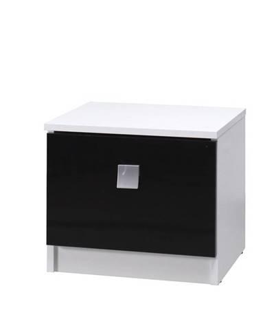 noční stolek LAVERN, bílá/černý lesk