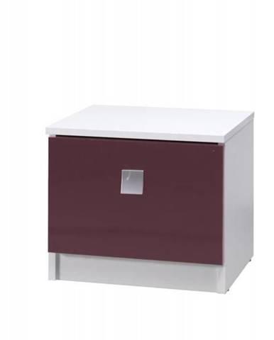 noční stolek LAVERN, bílá/fialový lesk