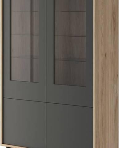 Vitrína BJORN 104, hickory/grafit