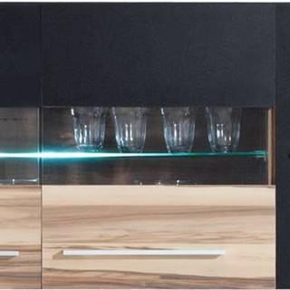 závěsná vitrína MYLO 10, černá/ořech baltimore