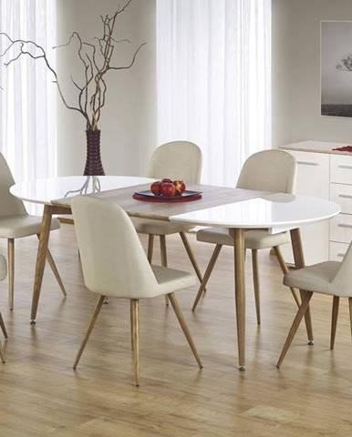 Halmar Jídelní stůl EDWARD, bílý/medový dub