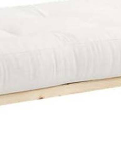 Jednolůžková postel z masivního borovicového dřeva s matrací Karup Design Senza Natural,90x200cm