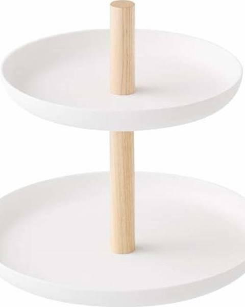 YAMAZAKI Bílý stojánek se 2 úložnými miskami a detailem z bukového dřeva YAMAZAKI Tosca