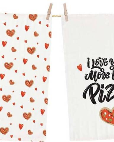 Sada 2 bavlněných kuchyňských utěrek Butter Kings Love you more, 70 x 50 cm