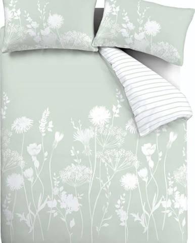 Bílo-zelené povlečení Catherine Lansfield Meadowsweet Floral, 135 x 200 cm