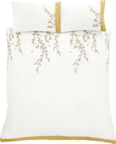 Bílo-žluté povlečení Catherine Lansfield Embroidered Blossom, 200 x 200 cm