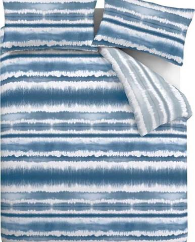 Modré povlečení Catherine Lansfield Tie Dye Seersucker, 200 x 200 cm