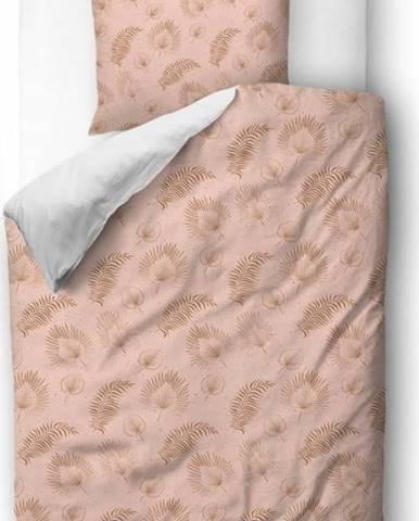 Růžové povlečení z bavlněného saténu Butter Kings Boho Leaves,140x200cm