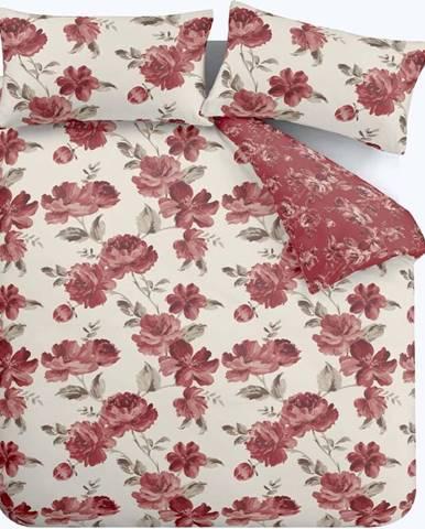 Červené povlečení Catherine Lansfield Painted Floral, 200 x 200 cm