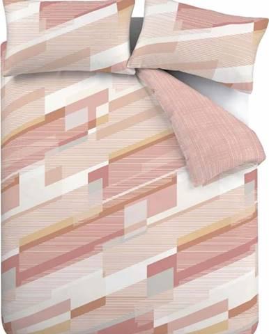 Růžové povlečení Catherine Lansfield Harley Geo, 200 x 200 cm