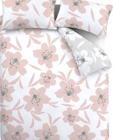Růžovo-bílé povlečení Catherine Lansfield Lily, 200 x 200 cm