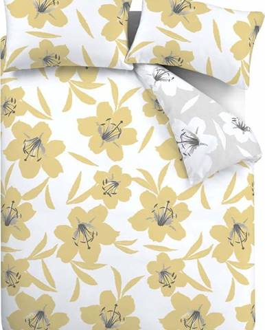Žluto-bílé povlečení Catherine Lansfield Lily, 200 x 200 cm