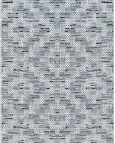 Modro-šedý běhoun vhodný do exteriéru Elle Decoration Curious Creil, 77 x 200 cm