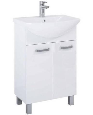 Skříňka s umyvadlem a baterií bílá Uno 2D 55