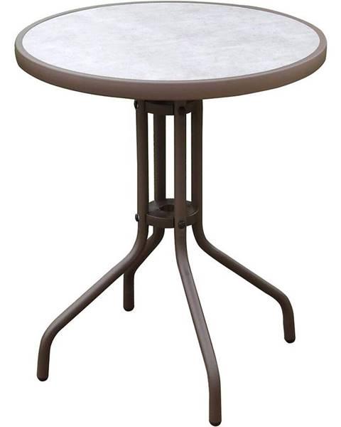 BAUMAX Skleněný stůl imitace betonu hnědá