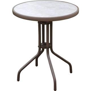 Skleněný stůl imitace betonu hnědá