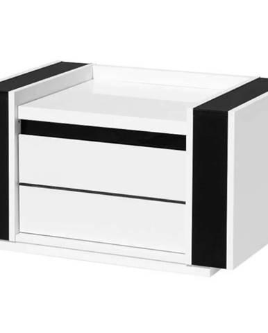 Noční stolek Linn 70 cm, bílá / černá