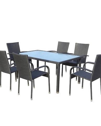 Zahradní sada ratan stůl + 6 židlí černá