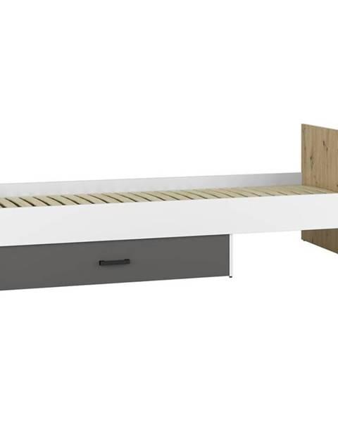 BAUMAX Postel 96 + Rošt  Fini 90cm Dub Artisan/Bílá/Antracit