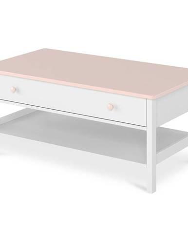 Konferenční Stolek Luna 110cm Bílý/Ružová