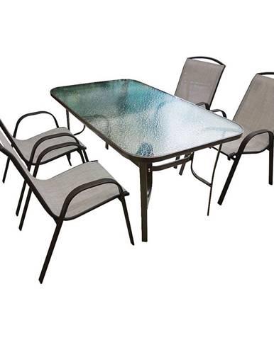 Sada sklenený stůl + 4 židle béžová