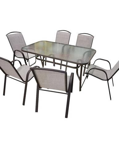 Sada skleněný stůl + 6 židlí béžová