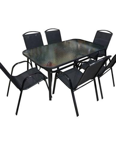 Sada sklenený stůl + 6 židlí Himalaya