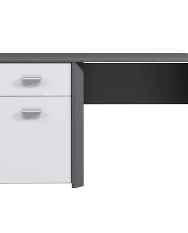 Psací Stůl Hey 130cm Wolfram Šedý/Šedý Mat/Bílý