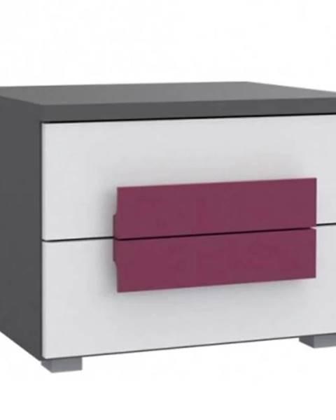 BAUMAX Noční stolek Libelle 50 cm Bílý/Šedá