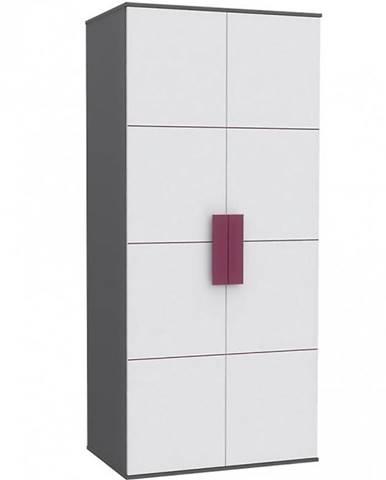 Skříň Libelle 91 cm Bílý/Šedá