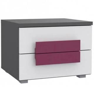 Noční stolek Libelle 50 cm Bílý/Šedá