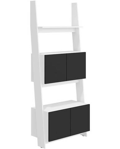 Regál Rack 80cm 2D Bílá/Černá