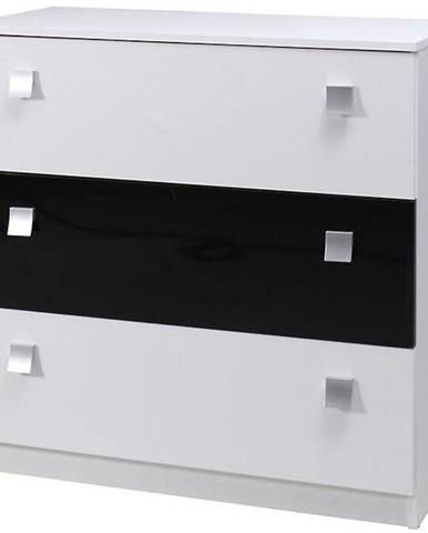 Komoda Lux 92 cm Bílý/Černý Lesk