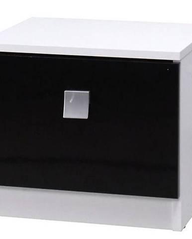 Noční stolek Lux 41 cm, bílý / černý lesk