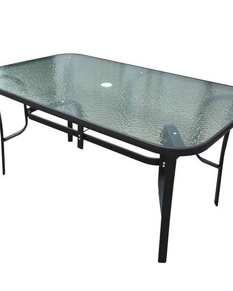 BAUMAX Skleněný stůl s otvorem 150x90x70 cm černá
