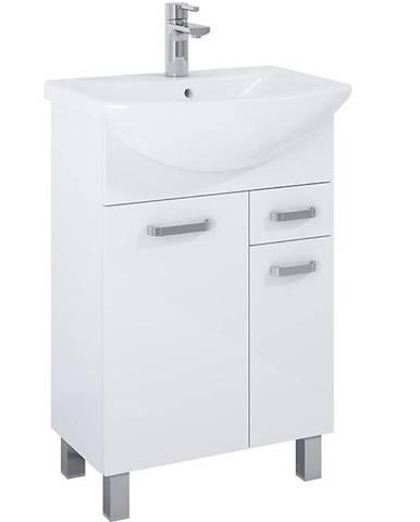Skříňka s umyvadlem bílá Uno 2D1S 55