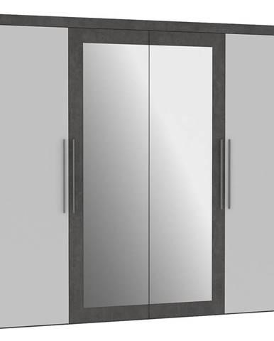 Skříň Julietta 230cm 4d Beton/Bílý Lesk