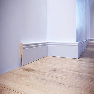 Podlahová lišta dýhovaná MDF Foge LO8 100 bílá polmat