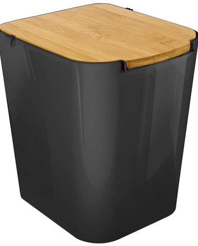 Koš 7l materiál černý s víkem bambus