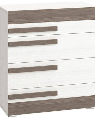Komoda Blanco 86 cm, borovice sněžná / new grey