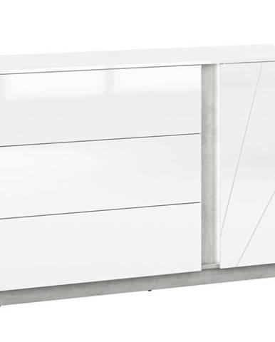 Komoda Lumens 138 cm, bílá / beton