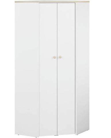 Rohova Skříňe Elmo 80cm Bílá/Buk Fjord