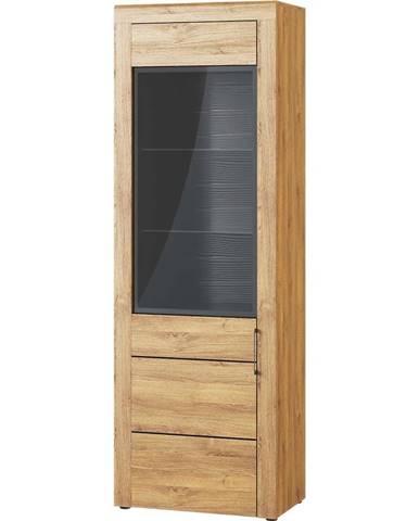 Vitrína Kama 67 cm Dub Camargue/Černý Mat