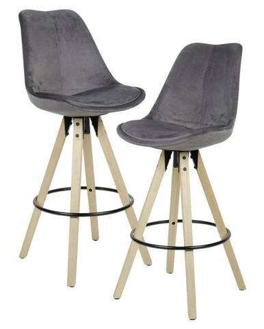 Barová Židle Barhocker 2ks Tmavěšedá
