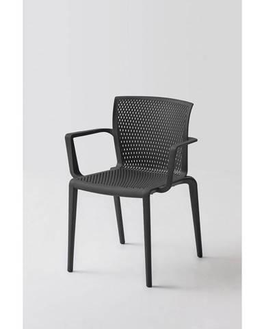 Plastová Židle S Područkami Spiker Černá - Sada 4ks