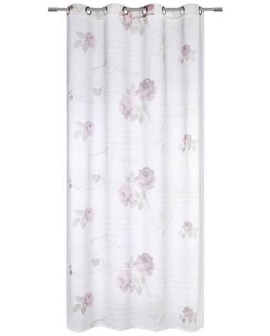 Závěs S Kroužky Diary Rose 140/245cm, Bílá